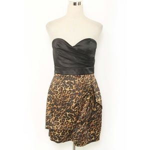 Love Tease Black/Leopard Strapless Cocktail Dress